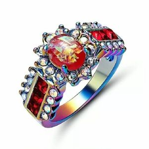 Gorgeous red fire opal ring